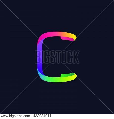 C Letter Logo Made Of Multicolor Gradient Neon Line. Vector Bright Icon For Multimedia Labels, Night