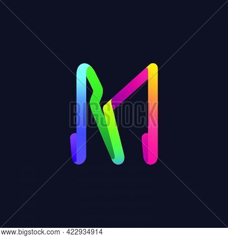 M Letter Logo Made Of Multicolor Gradient Neon Line. Vector Bright Icon For Multimedia Labels, Night