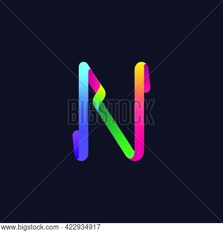 N Letter Logo Made Of Multicolor Gradient Neon Line. Vector Bright Icon For Multimedia Labels, Night