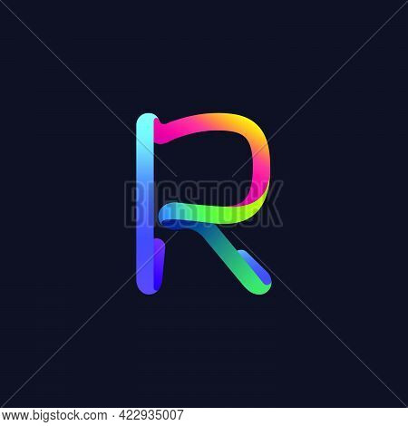 R Letter Logo Made Of Multicolor Gradient Neon Line. Vector Bright Icon For Multimedia Labels, Night