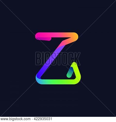 Z Letter Logo Made Of Multicolor Gradient Neon Line. Vector Bright Icon For Multimedia Labels, Night