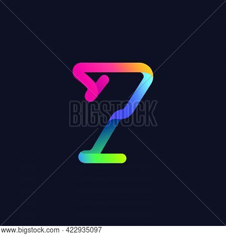 Number Seven Logo Made Of Multicolor Gradient Neon Line. Vector Bright Icon For Multimedia Labels, N