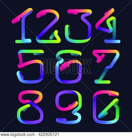 Numbers Set Logo Made Of Multicolor Gradient Neon Line. Vector Bright Set For Multimedia Labels, Nig