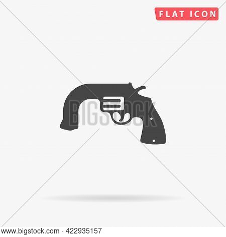 Curved Revolver Flat Vector Icon. Hand Drawn Style Design Illustrations.