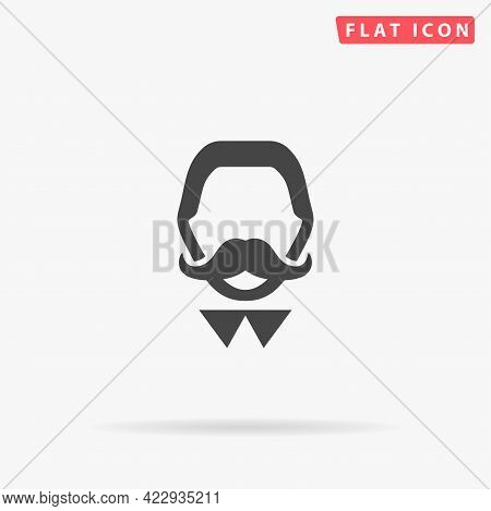 Mustached Man Flat Vector Icon. Hand Drawn Style Design Illustrations.