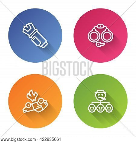 Set Line Police Electric Shocker, Handcuffs, Burning Car And Mafia. Color Circle Button. Vector