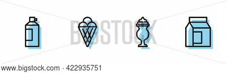 Set Line Milkshake, Whipped Cream In Bottle, Ice Waffle Cone And Paper Package For Milk Icon. Vector
