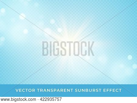 Sun Rays Blurred Bokeh Transparent Effect Isolated On Light Blue Background. Vector Illustration