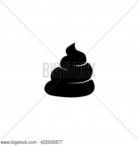 Excrement, Poop, Animal Shit. Flat Vector Icon Illustration. Simple Black Symbol On White Background