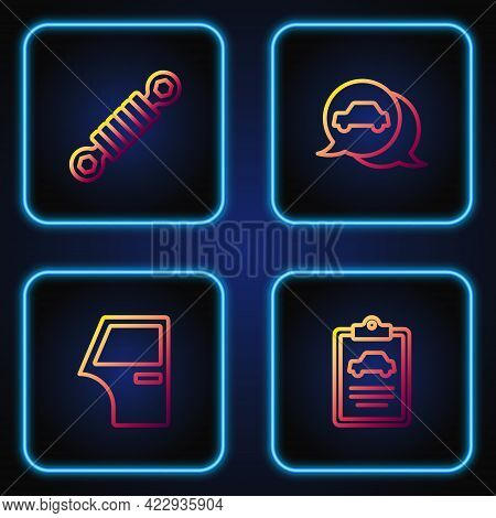 Set Line Car Inspection, Door, Shock Absorber And Service. Gradient Color Icons. Vector