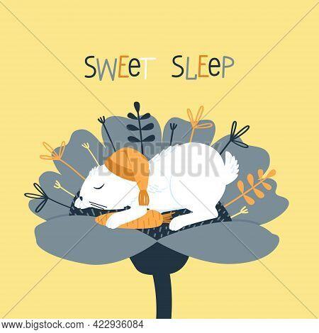 A Cute Rabbit Sleeps In A Nightcap Inside A Flower. The Hare Hugs His Favorite Carrot. Funny Cartoon