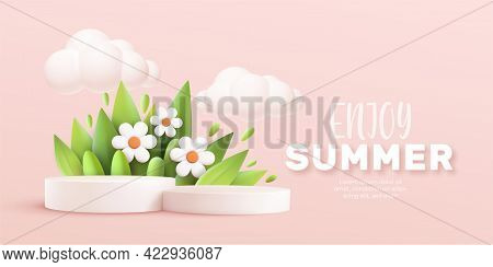 Enjoy Summer 3d Realistic Background With Clouds, Daisies, Grass, Leaves And Product Podium On A Pin