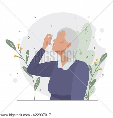 Old Woman Uses An Asthma Inhaler Against An Allergic Attack. World Asthma Day. Allergy, Asthmatic. I