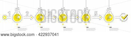 Infographic Timeline With Lamp Light Bulbs Icons. 5 Steps Idea Journey Path Concept Of Business Proj
