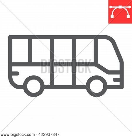 Bus Line Icon, Transportation And Vehicle, Bus Vector Icon, Vector Graphics, Editable Stroke Outline