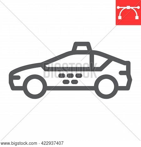 Taxi Car Line Icon, Transportation And Vehicle, Taxi Vector Icon, Vector Graphics, Editable Stroke O
