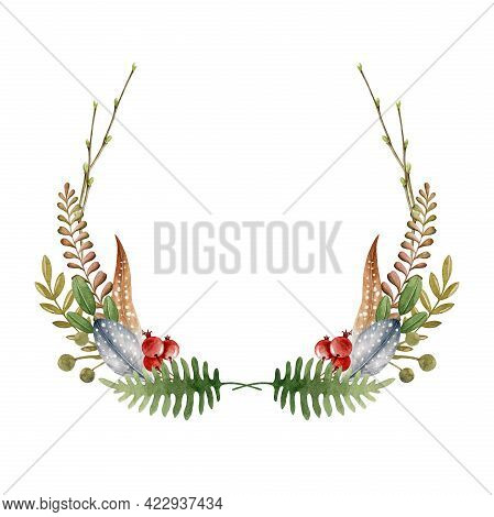 Floral Natural Boho Wreath. Hand Drawn Rustic Elegant Frame. Countryside Wreath From Fern, Evergreen