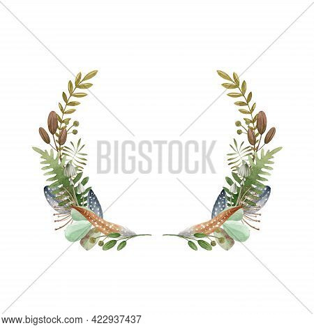 Floral Natural Wreath. Watercolor Illustration. Elegant Seasonal Rustic Decor From Fern, Leaves, For