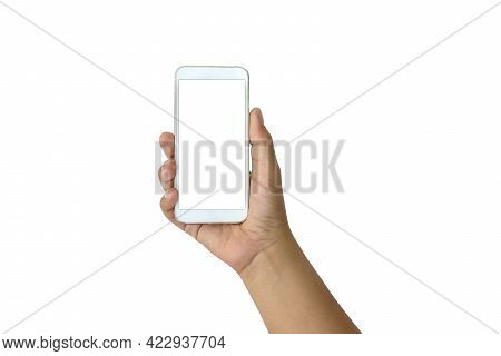 Female Hand Holding White Mobile Phone And White Screen On White Isolated Background With The Clippi