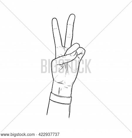 Peace Sign With Two Fingers Up. Peace Hand Gesture Isolated In White Background. Outline Vector Illu