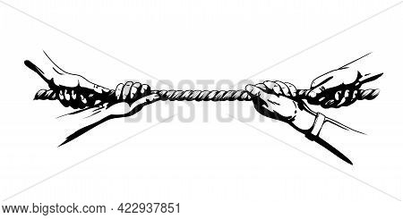 Tug War Competition With Rope. Hands Pulling Rope. Shadowed Sketch Hand Drawn Vector Illustration Is