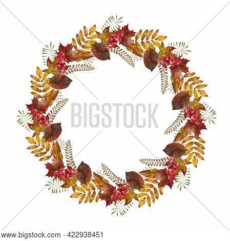 Floral Autumn Rustic Wreath. Watercolor Image. Hand Drawn Lush Round Frame. Seasonal Autumn Frame. C