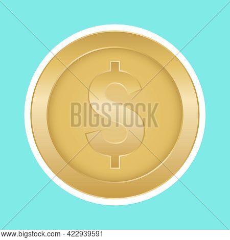 Coin, Gold Coin Icon. Vector Illustration. Vector.