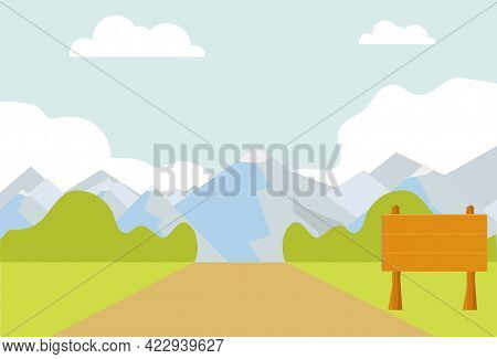 A Road With A Wooden Signpost Against The Background Of A Mountain Landscape. Vector Illustration. V
