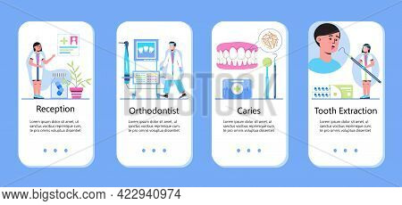 Dentist Concept Vector For App. Caries, Tartar Or Tooth Cyst Treatment.