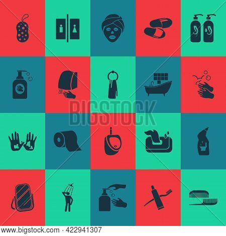 Toilet Icons Set With Combs, Hand With Liquid Soap, Toilet Cleaner Hygiene Elements. Isolated Vector