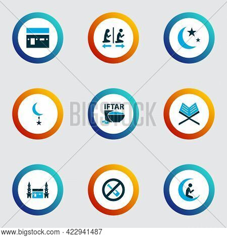 Religion Icons Colored Set With Kaaba, Isha, No Alcohol And Other Crescent Elements. Isolated Vector