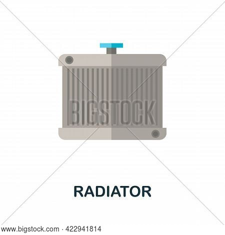 Radiator Flat Icon. Color Simple Element From Car Servise Collection. Creative Radiator Icon For Web