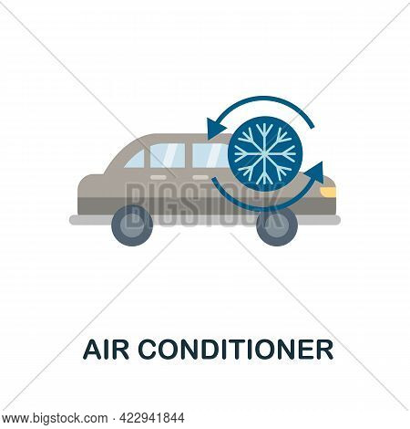 Air Condition Flat Icon. Color Simple Element From Car Servise Collection. Creative Air Condition Ic