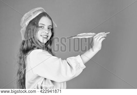 Back To School. Little Artist Painter Drawing. Retro Publisher. Writing Romantic Story. Small Girl P