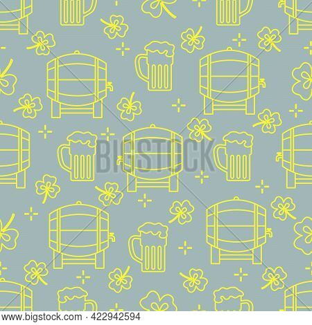 Seamless Pattern With Clover Leaves, Beer Barrel, Beer Mug. St. Patrick's Day. Holiday Background. I