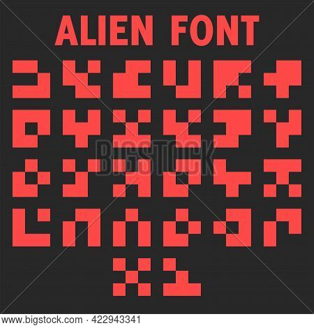 Alien Font Letters Alphabet For The Display Of The Info Panel Of A Computer Game Hieroglyphic Red Sy