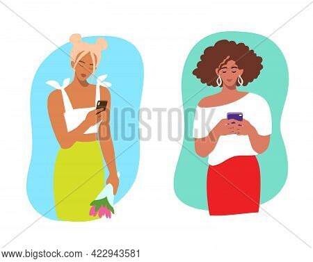 Beautiful Young Girl Reads A Message On A Mobile Phone. Vector Illustration In Flat Style