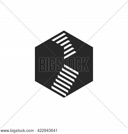 Staircase Logo With Steps Black And White Negative Space Style, Hexagon 3d Illusion Geometric Shape.