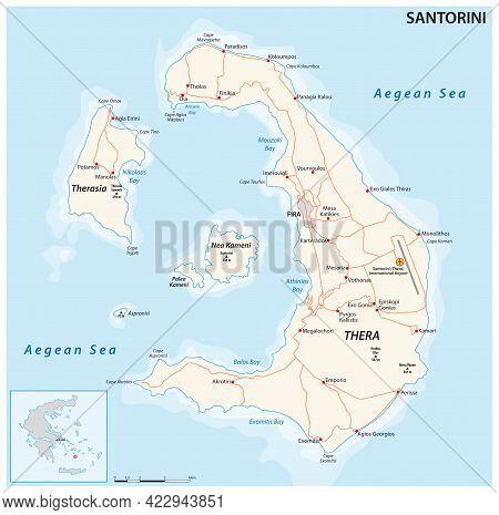 Vector Map Of The Santorini Archipelago In The South Aegean Sea, Greece