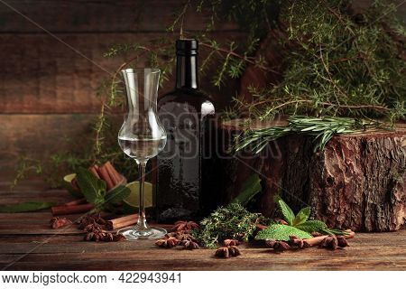 Vintage Bottle And Glass Of Gin. On An Old Wooden Table, There Are Various Herbs And Spices For Maki