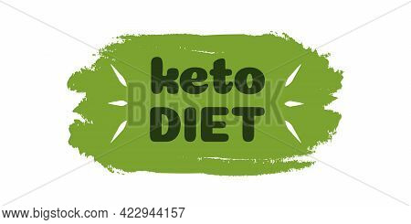 Keto Friendly Diet Nutrition Vector Symbol On Green Organic Texture Isolated On White-ketogenic Diet