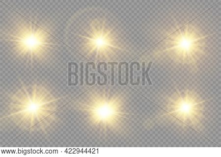 Yellow Glowing Light Bright Star, Golden Sun.