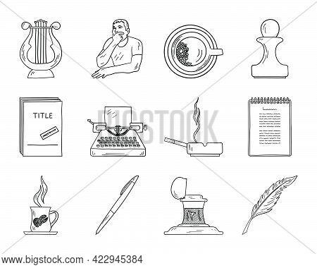 Writer Icon Set. Hand Drawn Doodle Sketch Design. Vector Illustration.