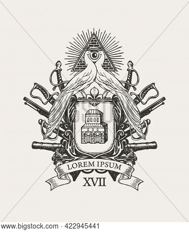 Black And White Coat Of Arms With Peacocks, All-seeing Eye, Spears, Sabers, Swords, Cannons And Knig