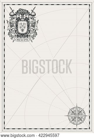 Vintage Background With Ornate Coat Of Arms, Wind Rose, Compass Sign And Place For Text. Hand-drawn