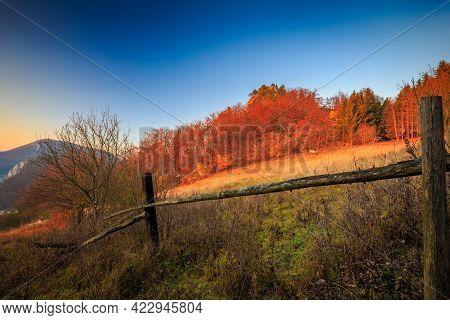 Autumn Rural Landscape At Sunset, Northwestern Slovakia, Europe.