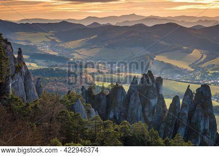 Beautiful Mountainous Country In Autumn At Sunset. National Nature Reserve Sulov Rocks, Slovakia, Eu