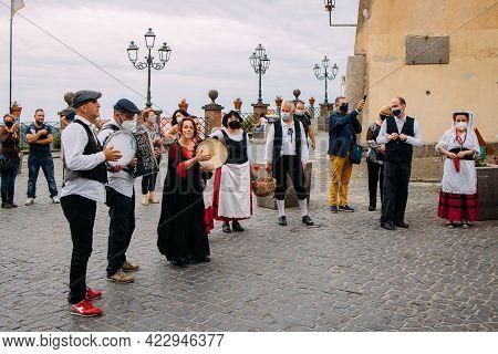 Nemi, Italy -june 6, 2021, Strawberry Festival Takes Place In The Town Of Nemi In The Castelli Roman