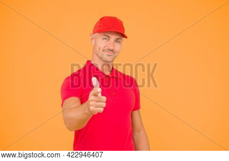 I Choose You. Happy Man Pointing Finger Straight Yellow Background. Pointing Index Gesture And Gestu