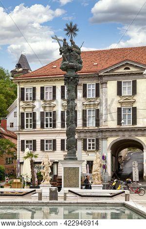 Graz, Austria - May 28 2019: Trinity Plague Column (german: Dreifaltigkeits-pestsäule) On Carmelite